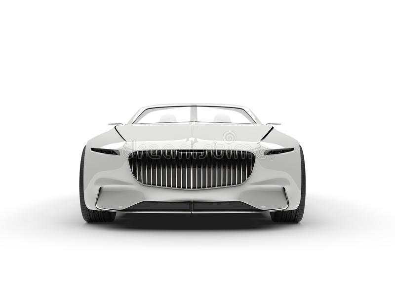 Clear white modern hi - tech concept car - front view. Isolated on white background royalty free illustration