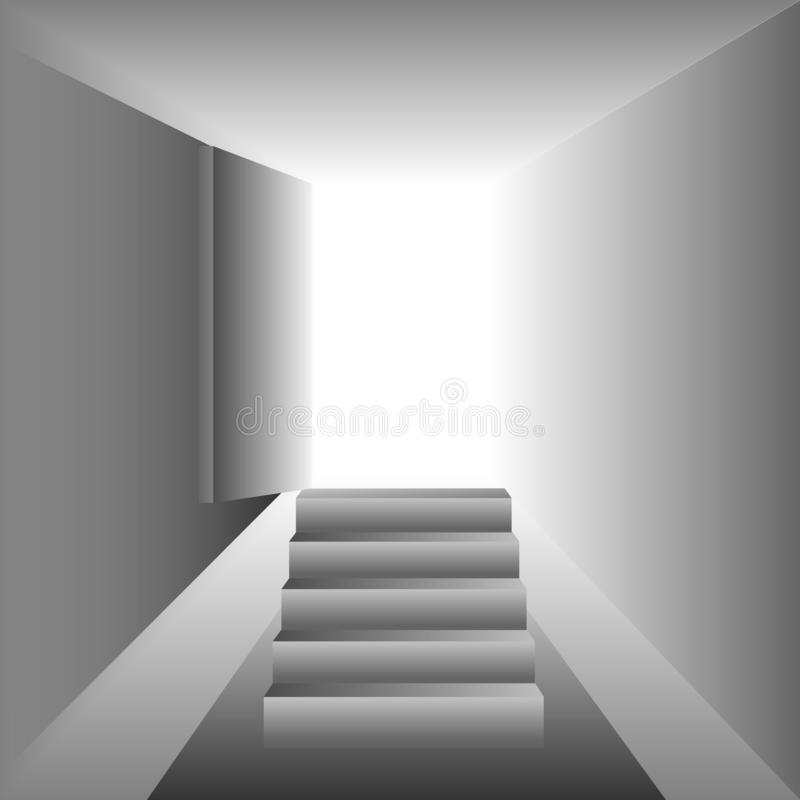 Clear white room with opened door background image design. stock illustration