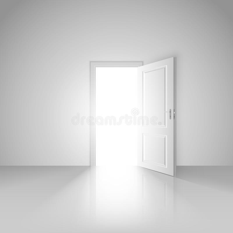 Clear white room with opened door to the new world stock illustration