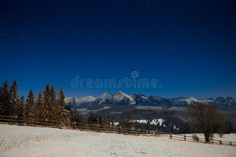 Clear winter night stock images