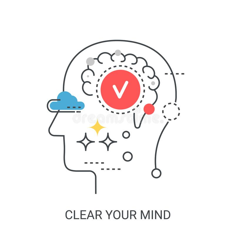 Clear your mind vector illustration concept. stock illustration