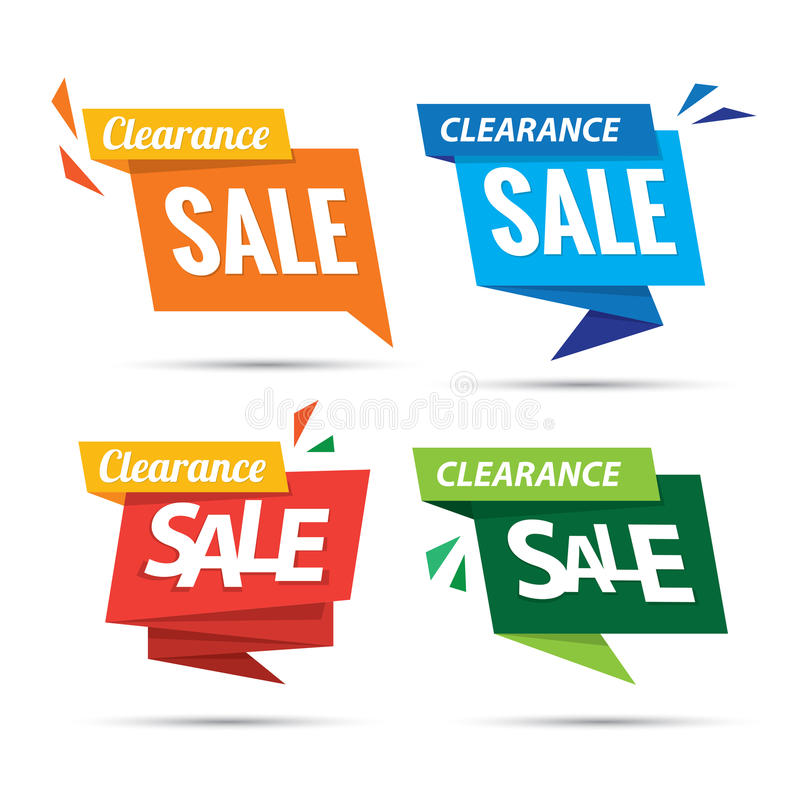 Clearance Sale many color 4 tag heading design for banner or pos. Ter. Sale and Discounts Concept. Vector illustration vector illustration
