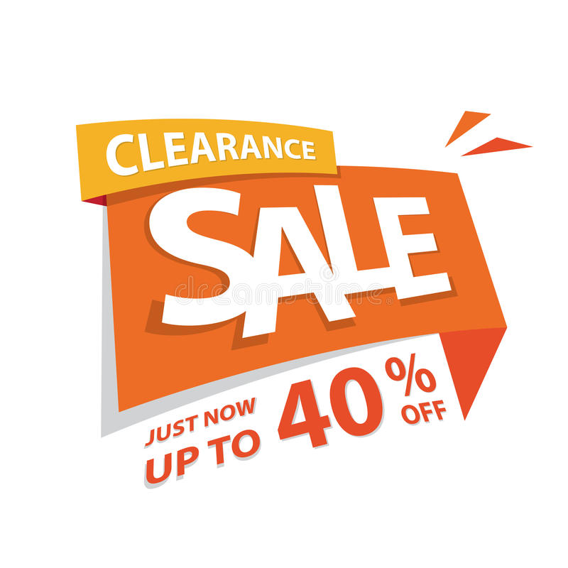 Clearance Sale orange tag 40 percent heading design for banner o. R poster. Sale and Discounts Concept. Vector illustration royalty free illustration