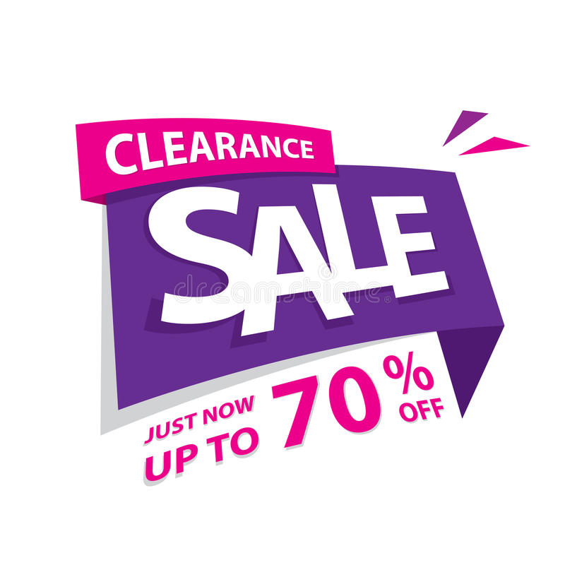 Clearance Sale purple pink 70 percent heading design for banner. Or poster. Sale and Discounts Concept. Vector illustration vector illustration