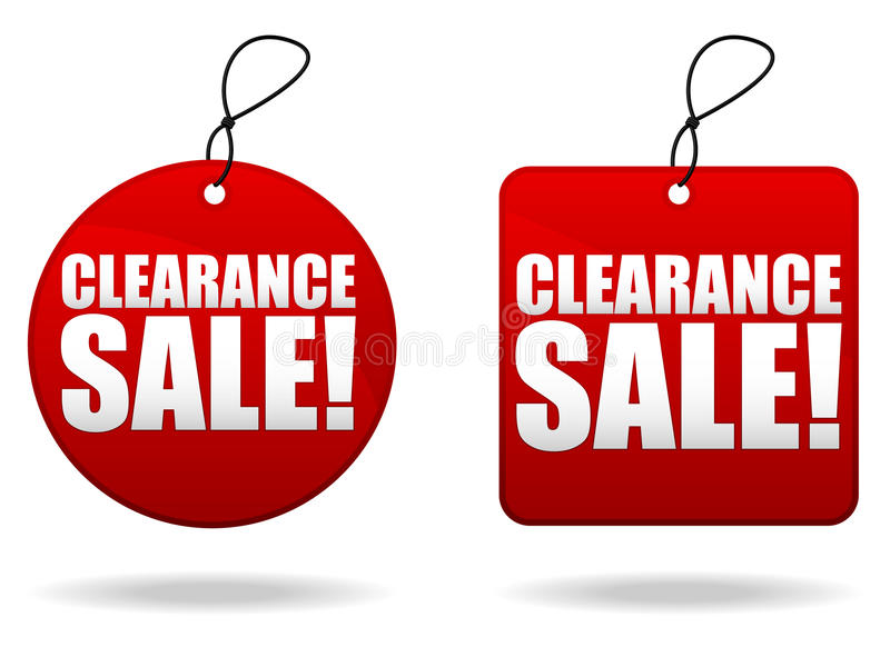 Clearance Sale Tags. A pair of tags promoting a clearance sale