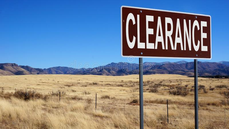 Clearance word on road sign royalty free stock photos