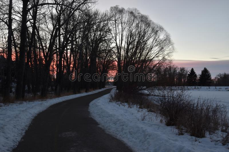 Cleared pathway in winter. Next to a pond royalty free stock image