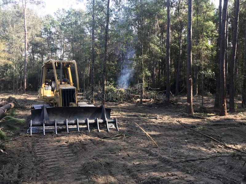 Clearing forest land with bulldozer. Clearing dense forest lands with bulldozer in south east Texas stock photography