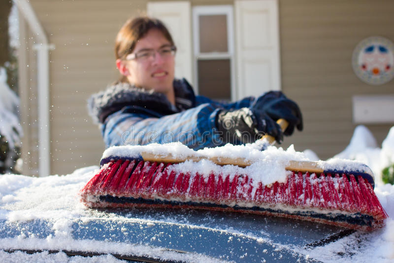Download Clearing Snow stock photo. Image of coat, shovel, cold - 17874972