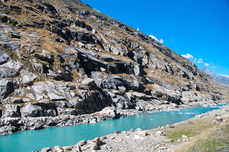 Clearly clean stream. Water melt from himalaya range, route from Manali to Leh, India stock photography