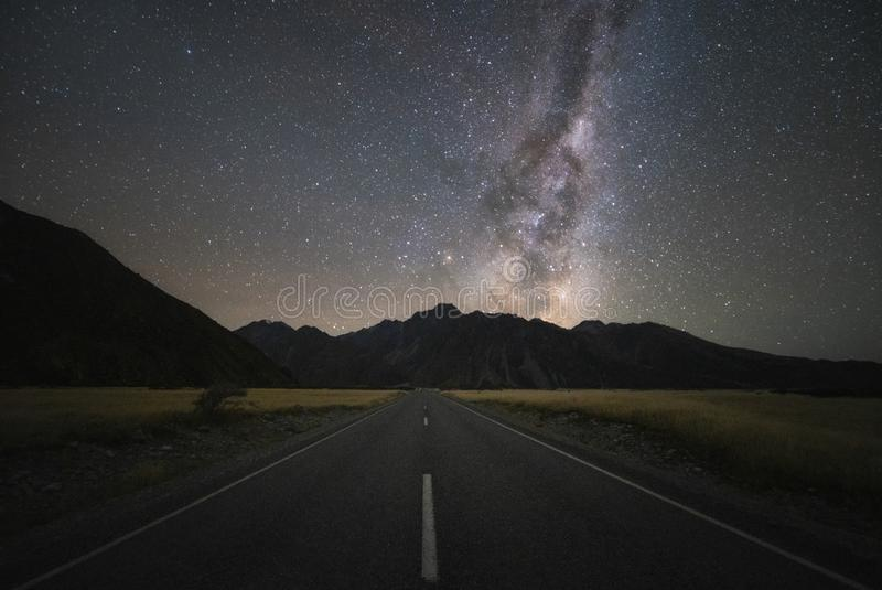 Clearly Milky Way galaxy at dark night over the road stock photos