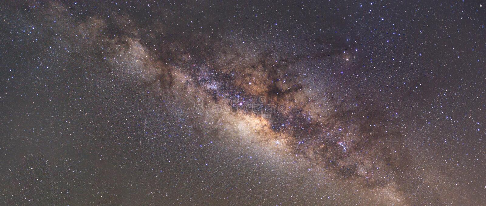 Clearly milky way on night sky with a million star stock image