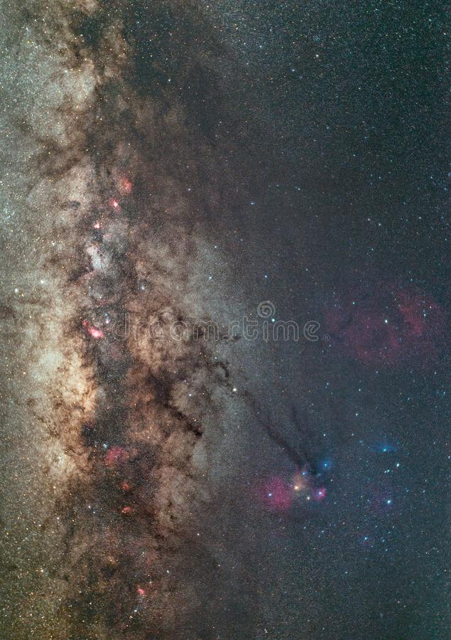 Clearly milky way on night sky with a million star stock photo