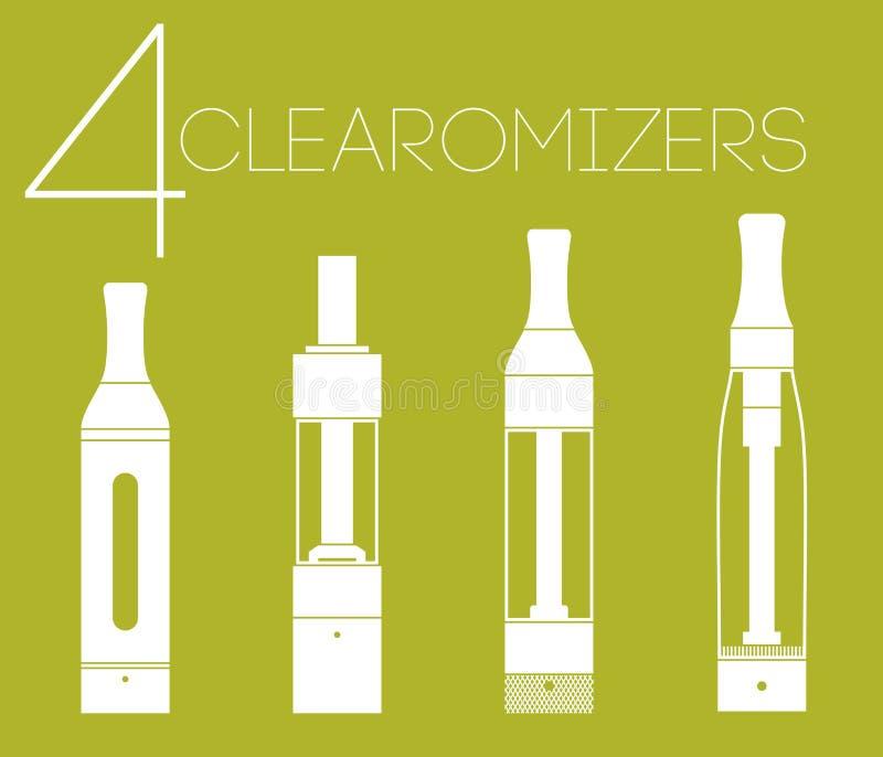 4 clearomizers réglés images libres de droits