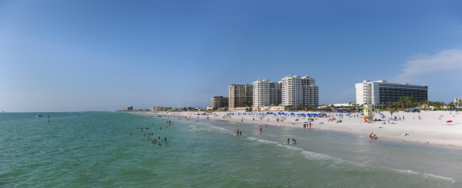 Clearwater Beach, Florida. Panoramic view of Clearwater BEach, Florida - Image stitched from several photographs stock photography
