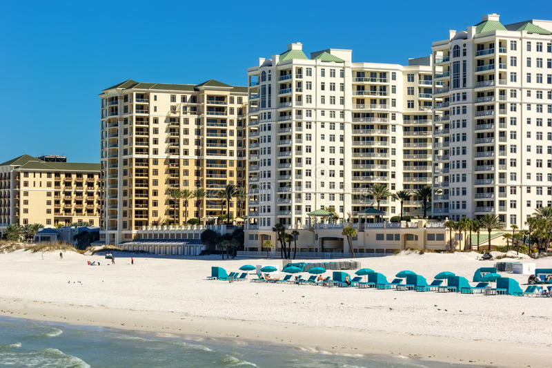 Clearwater Beach, Florida. Clearwater, Florida - Feb. 8, 2014: Beachgoers enjoy a day on Clearwater Beach, recently renovated and named one of the best beaches stock photography