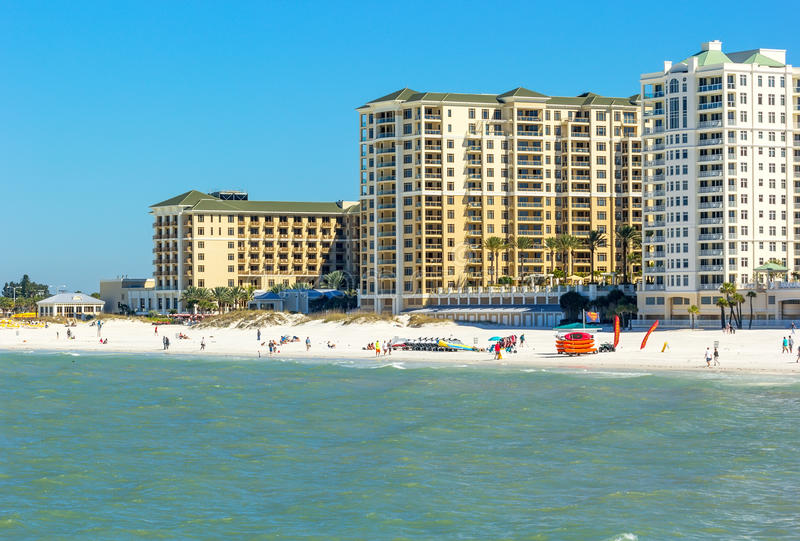 Clearwater Beach, Florida. Clearwater, Florida - Feb. 8, 2014: Beachgoers enjoy a day on Clearwater Beach, recently renovated and named one of the best beaches stock photo