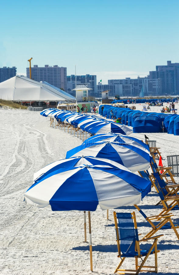 Clearwater Beach, Florida. Clearwater, Florida - Feb. 8, 2014: Beachgoers enjoy a day on Clearwater Beach, recently renovated and named one of the best beaches stock images