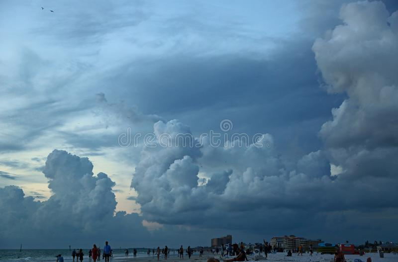Clouds over Clearwater beach. Clearwater Beach on the gulf, Florida stock photos