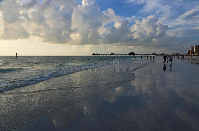 Walking on Clearwater Beach. Clearwater Beach on the gulf, Florida royalty free stock photo