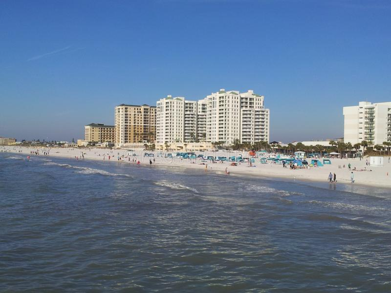 Clearwater beach, just voted the 1 beach in America. Clearwater beach has crystal clear water and super white and soft sand with award winning accommodations on royalty free stock image