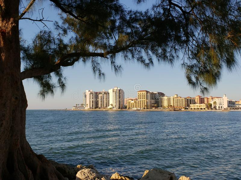Clearwater beach, just voted the 1 beach in America. Clearwater beach has crystal clear water and super white and soft sand with award winning accommodations on royalty free stock photography