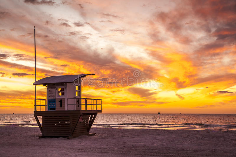 Clearwater Beach. Panoramic view of Clearwater Beach in Florida, USA at sunset stock images