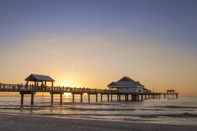 Clearwater Beach. Panoramic view of Clearwater Beach in Florida, USA at sunset stock image