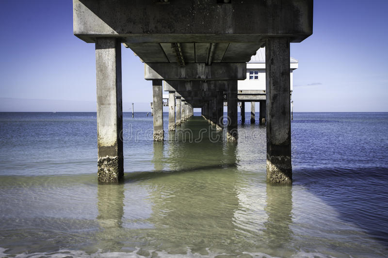 Clearwater Beach Pier 60. Beneath the famous Pier 60 at Clearwater Beach, Florida. Clearwater Beach is a resort paradise on the Gulf of Mexico stock photo