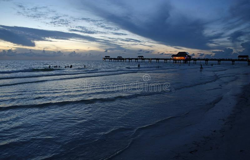 Clearwater Beach after sunset. Clearwater Beach on the gulf, Florida royalty free stock photography