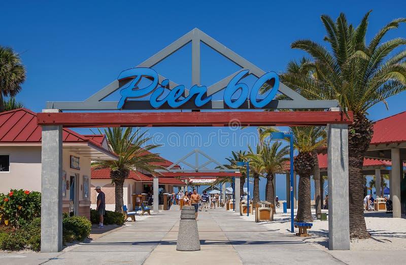 Clearwater för pir 60 strand, Florida arkivfoton