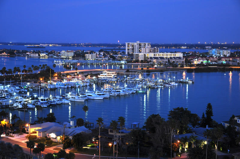 Clearwater Florida. Marina at night stock images