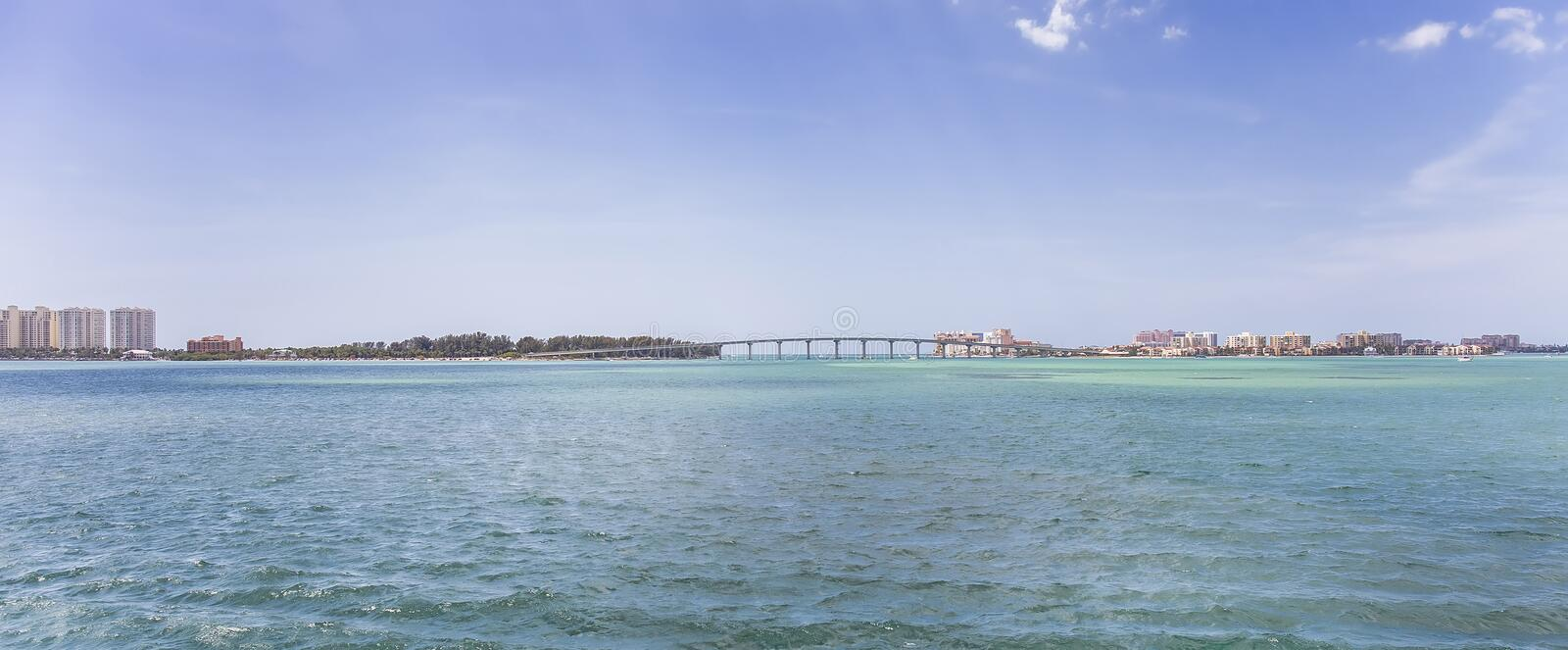 Clearwater Beach and Sand Key, Florida. Sand Key on the left, and Clearwater Beach, Florida on the right, seen over an intracoastal waterway with a connecting stock photos