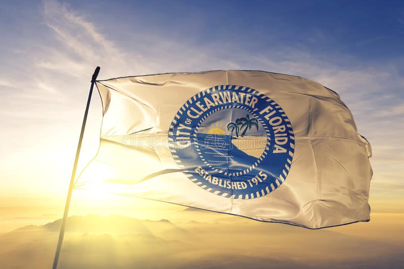 Clearwater of Florida of United States flag waving on the top. Clearwater of Florida of United States flag waving stock images