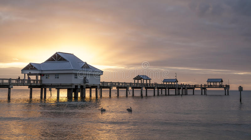 Clearwater. Panoramic view of Clearwater Beach in Florida, USA at sunset stock image