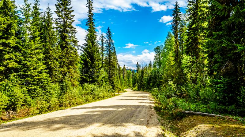 Clearwater Valley Road in Wells Gray Provincial Park. View of the Clearwater Valley Road that runs along the Clearwater River, in Wells Gray Provincial Park in royalty free stock image