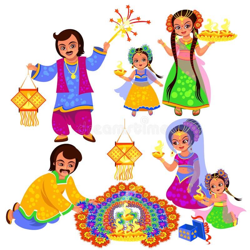 Clebration indio del día de fiesta de Diwali con las familias stock de ilustración
