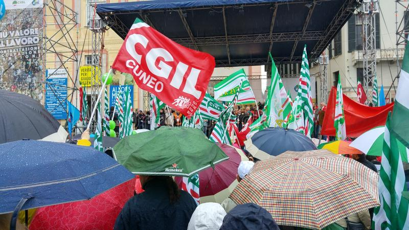 Clebrationvergadering van de arbeidersdag van CGIL royalty-vrije stock foto