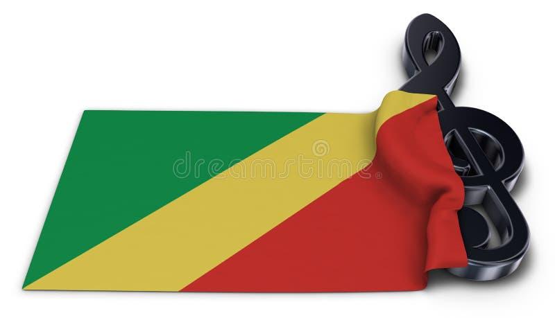 Clef και σημαία του Κογκό διανυσματική απεικόνιση