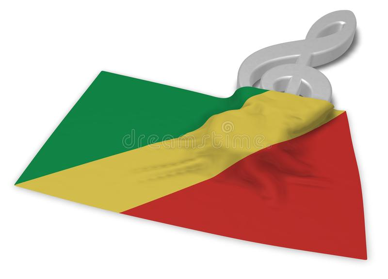 Clef και σημαία του Κογκό απεικόνιση αποθεμάτων