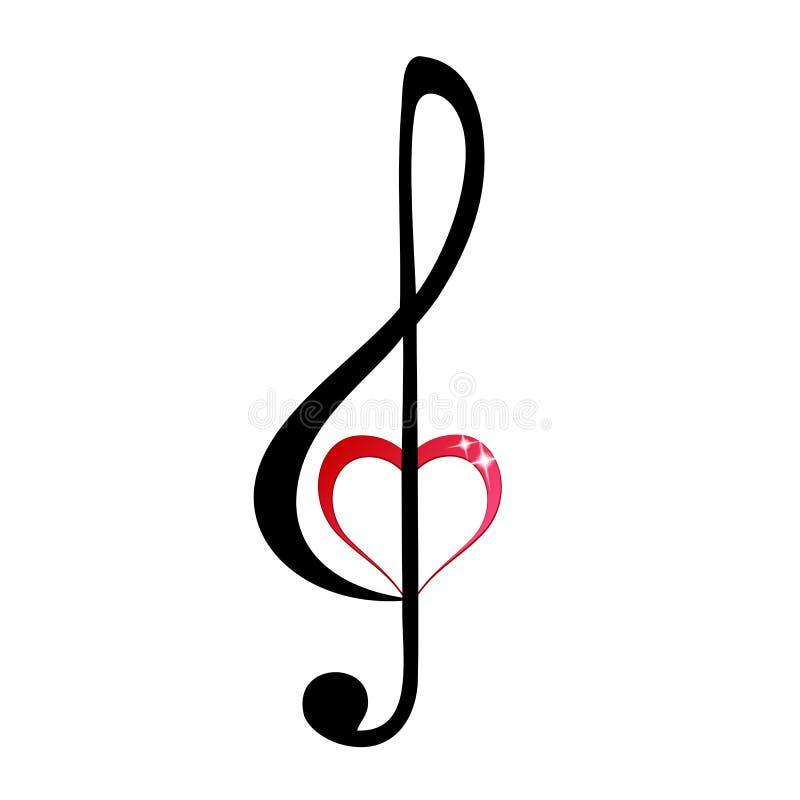 clef λαμπρό πρίμο καρδιών ελεύθερη απεικόνιση δικαιώματος