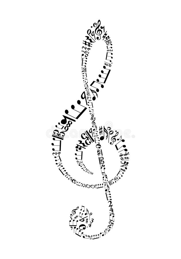 Clef. From sheet music symbols vector illustration