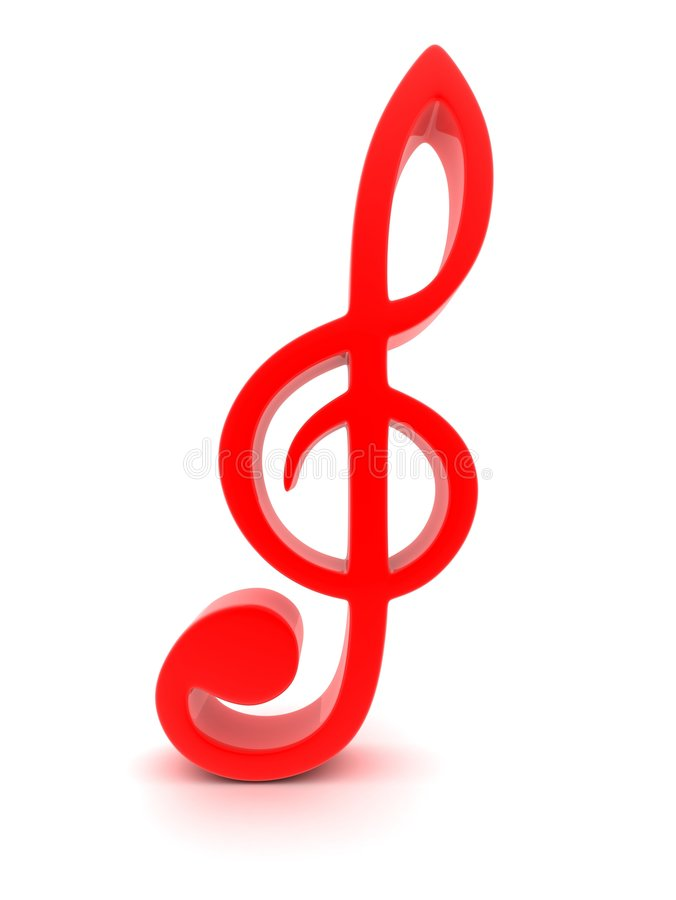 Clef. Musical red clef, done in 3d (isolated royalty free illustration