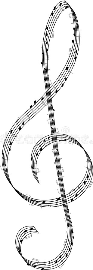 Clef. Created from staff with notes - vector stock illustration