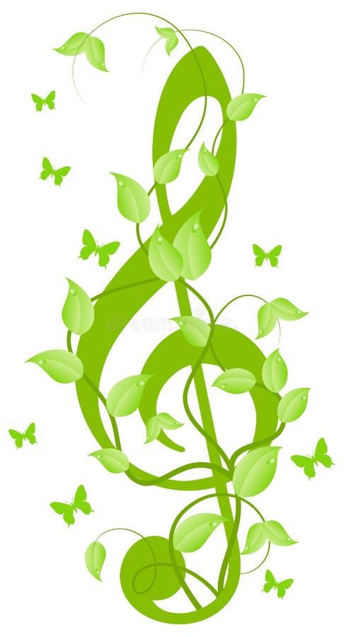 Clef de triplo com borboletas pequenas ilustração stock