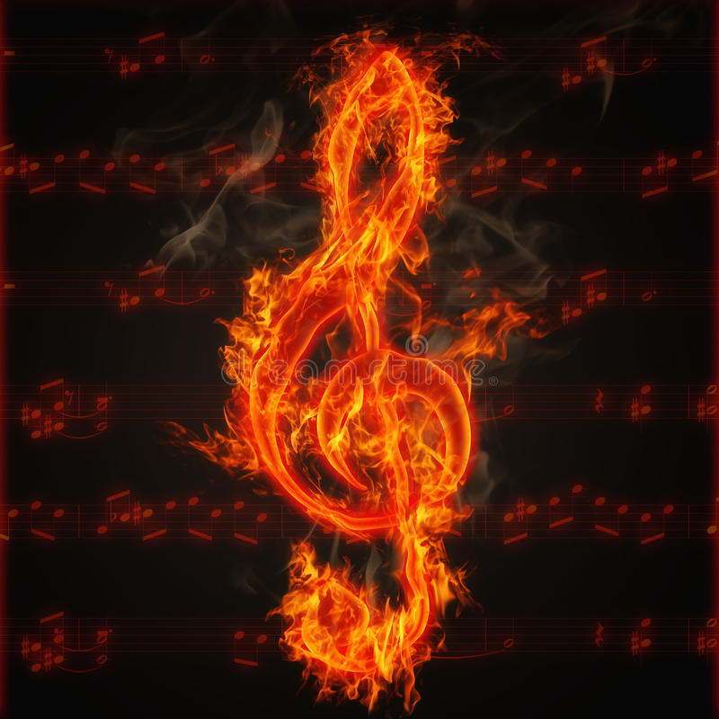 Clef on fire. Illustration of clef on fire on the background of music score sheet royalty free illustration