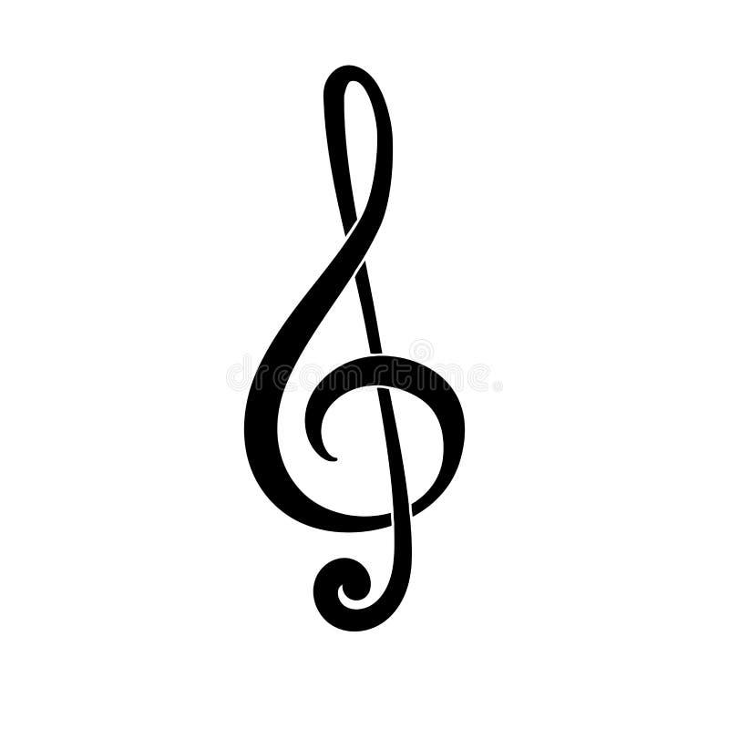 clef ilustracyjny treble wektor G klucz Symbol muzyka Czarna ikona royalty ilustracja