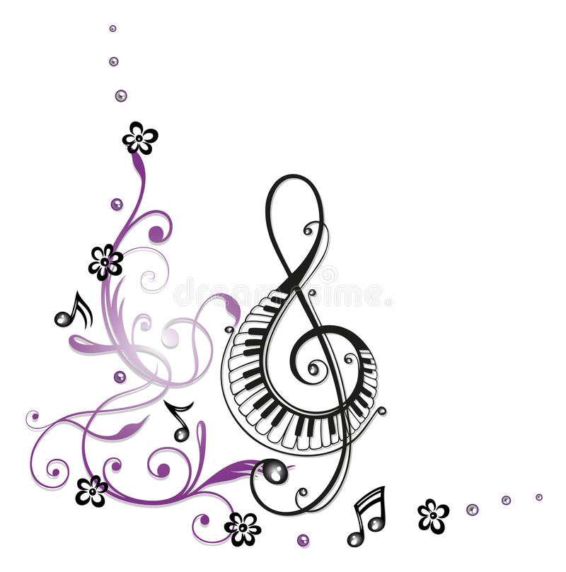Clef, music. Clef with flowers and music notes vector illustration