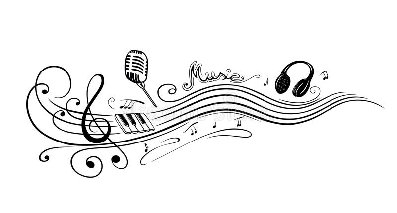 Clef, music notes. Clef with music notes, microphone and piano royalty free illustration