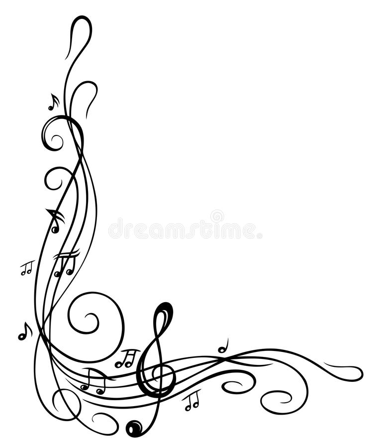 Clef, music sheet. Clef with music sheet and music notes, border vector illustration